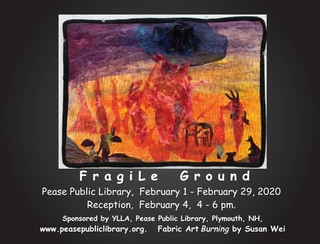 "Postcard promotion for ""Fragile Ground"" exhibit at Pease Public Library in Plymouth, NH."