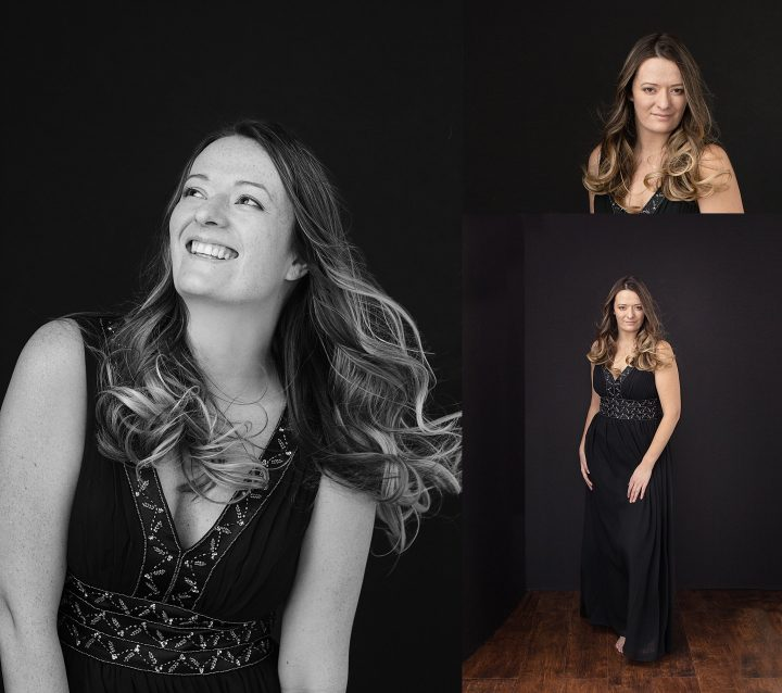 Collage of portraits of Nichole wearing a vintage beaded gown from Divine Inspirations in Meredith, NH.