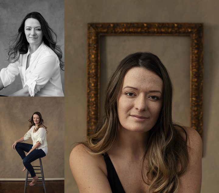 Collage of portraits of Nichole:  black and white, seated on tall stool, closer composition with vintage frame behind her.