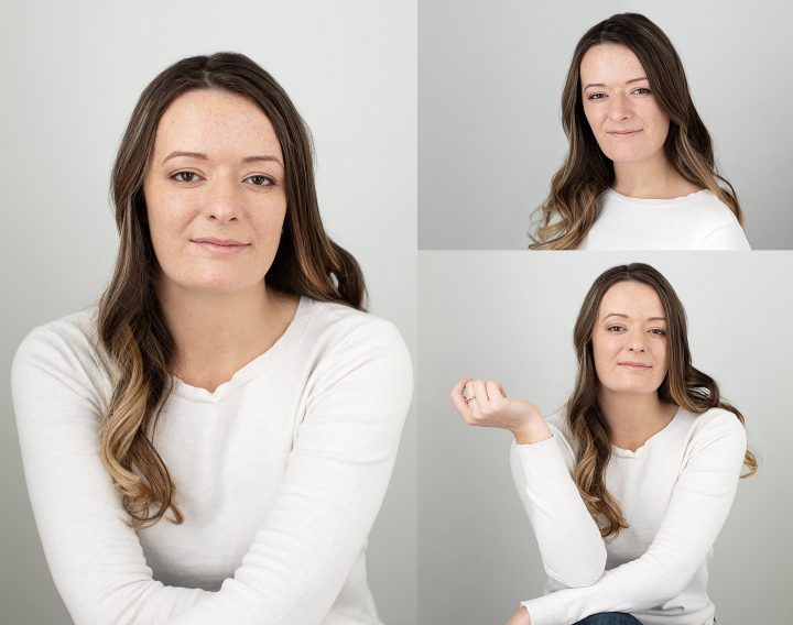 Headshots and portraits of Nichole wearing white