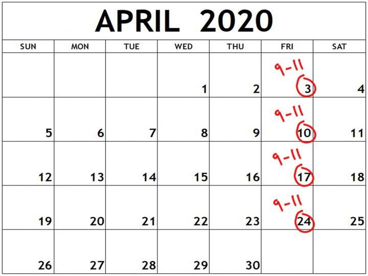 April 2020 photo course calendar