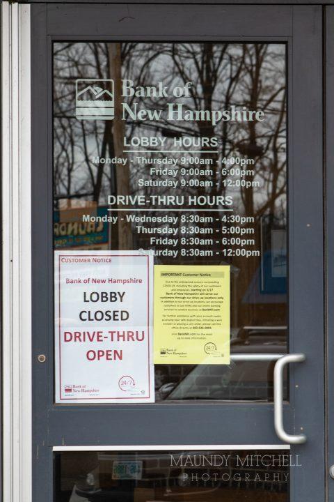 Signs on bank door