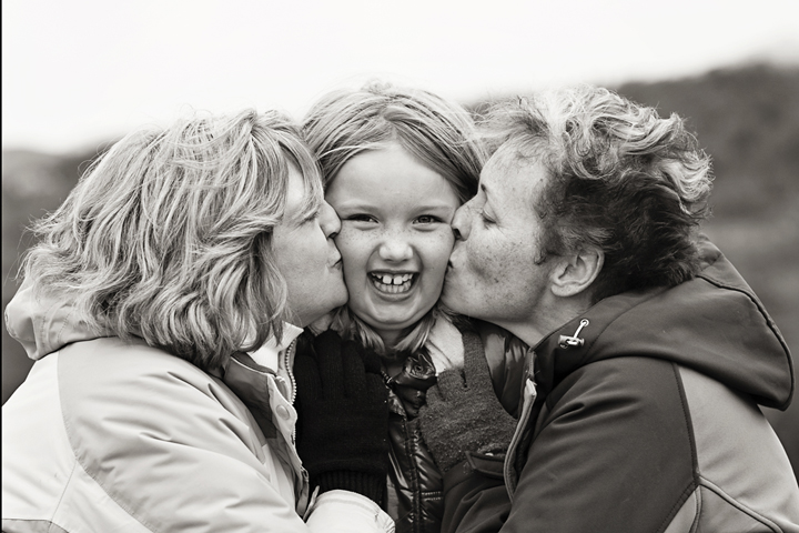 Black & White Family Kiss