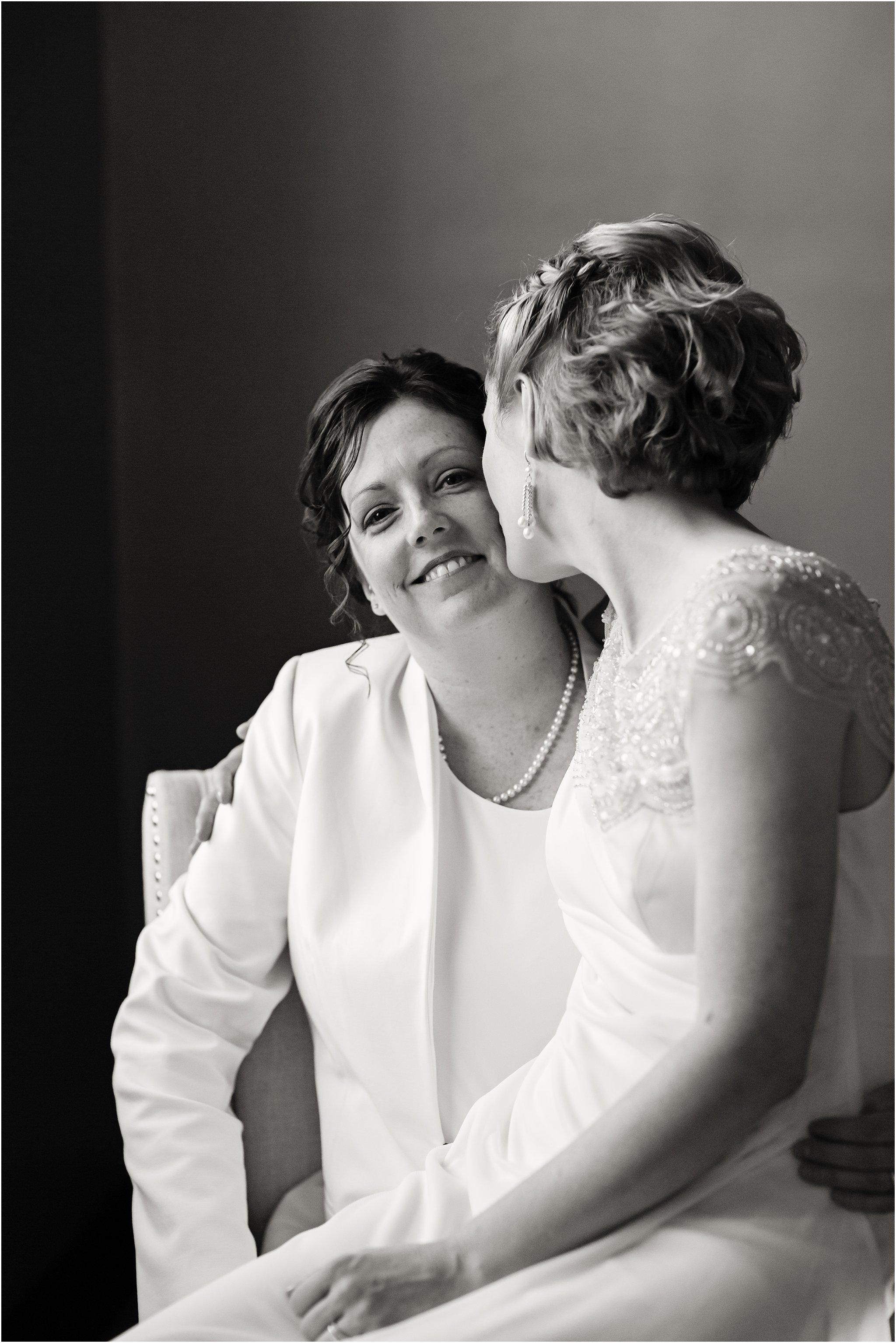 Black & White Portrait of Two Brides