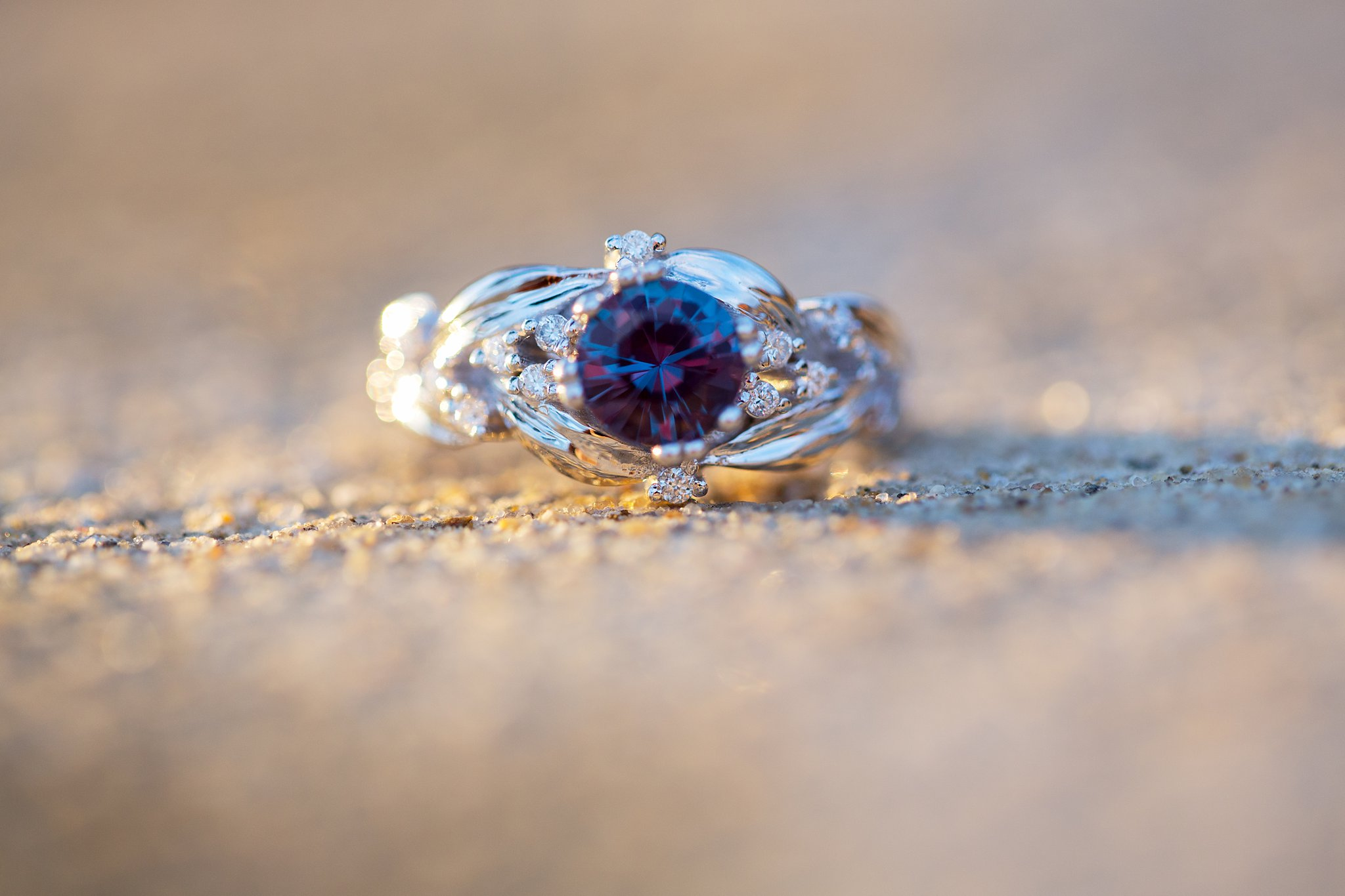 Engagement ring Alexandrite diamonds