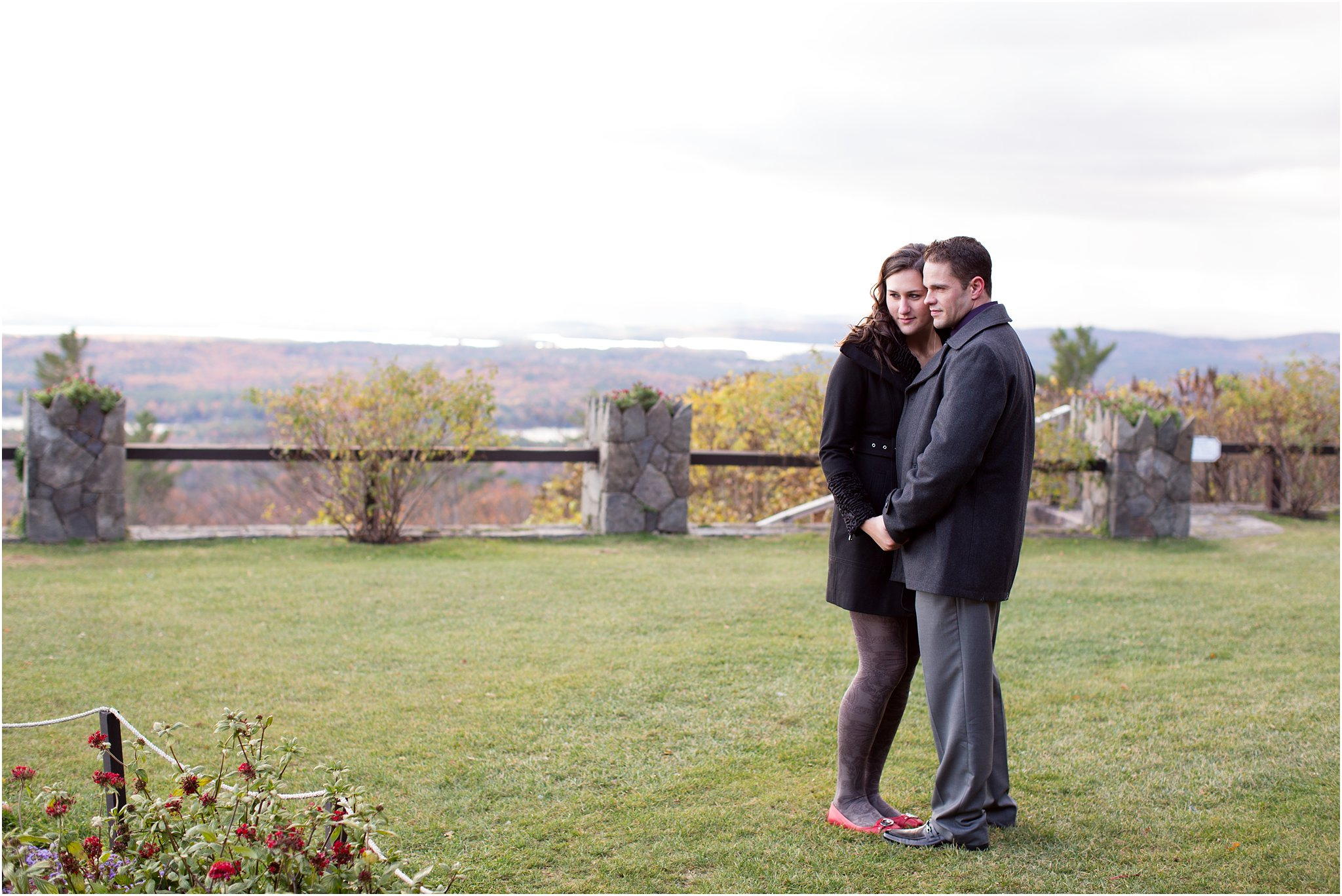 Engaged couple by garden at Castle in the Clouds, NH