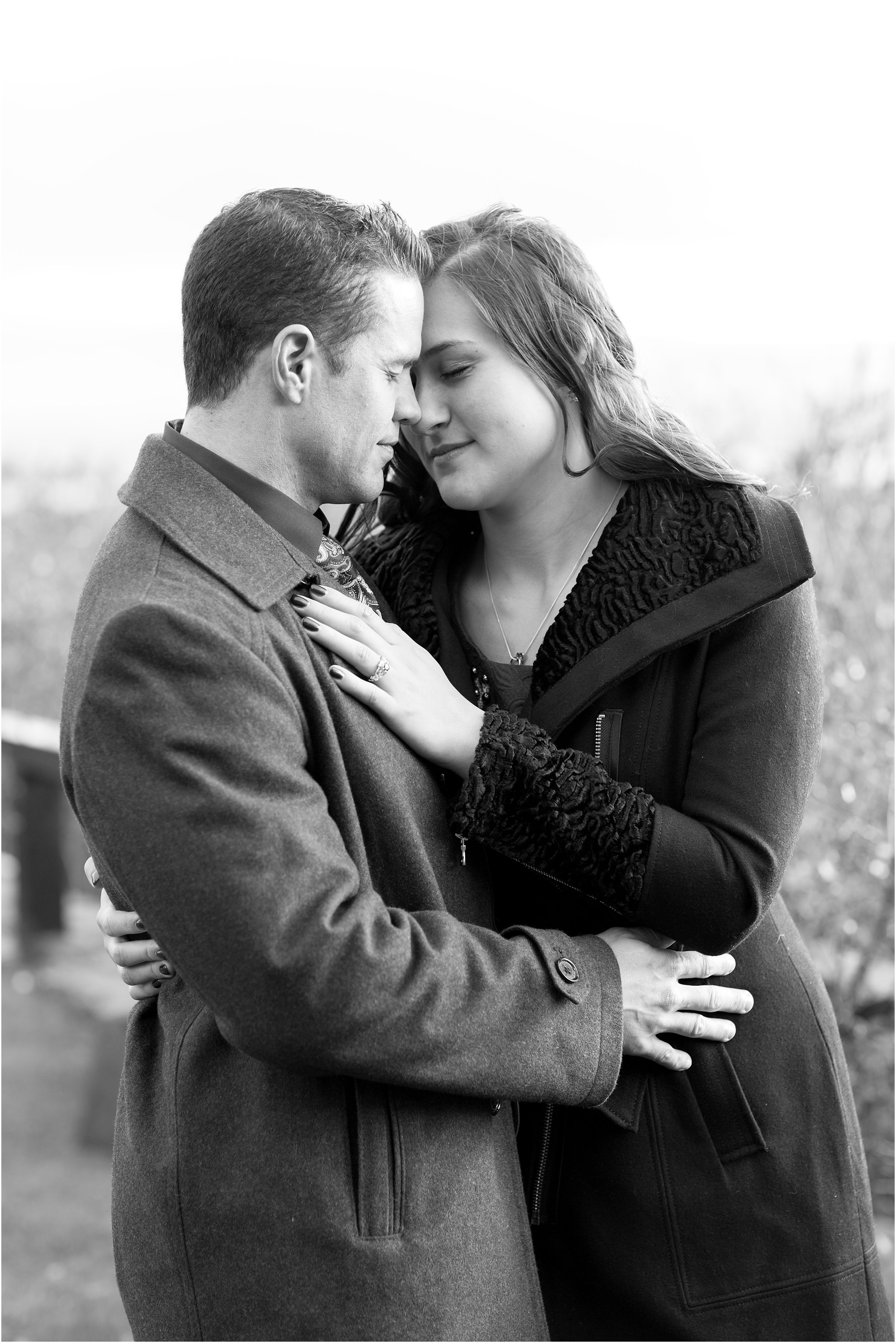 Black and White Portrait of Engaged Couple