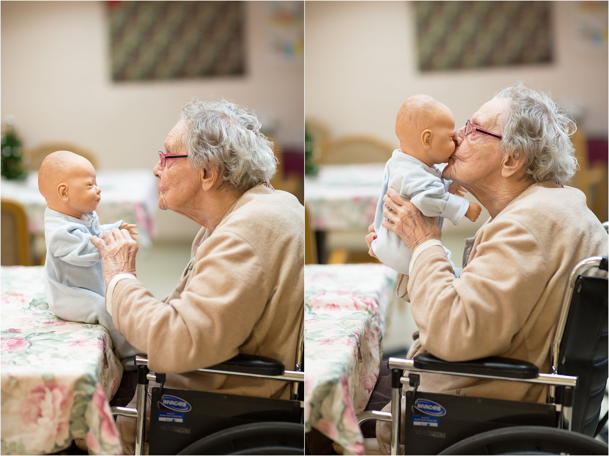 Elderly Woman Kissing Doll
