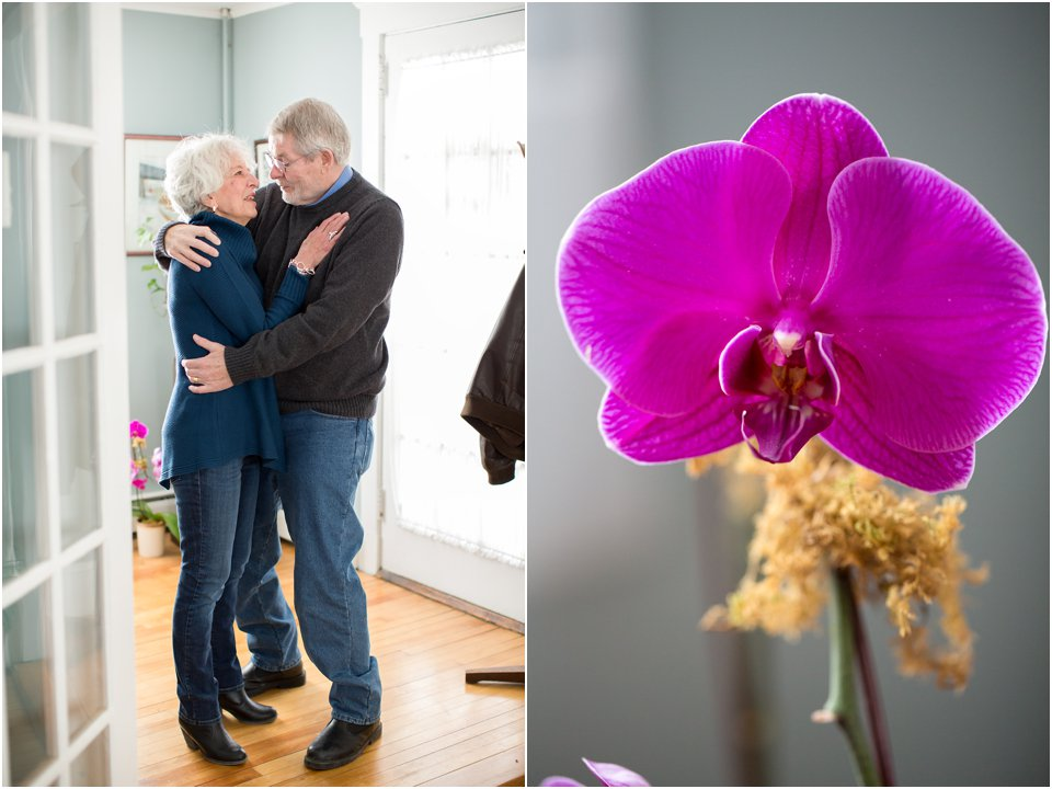 elderly couple and orchid