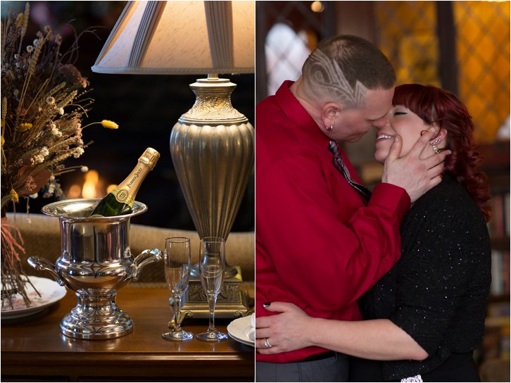 Champagne still life and kissing couple