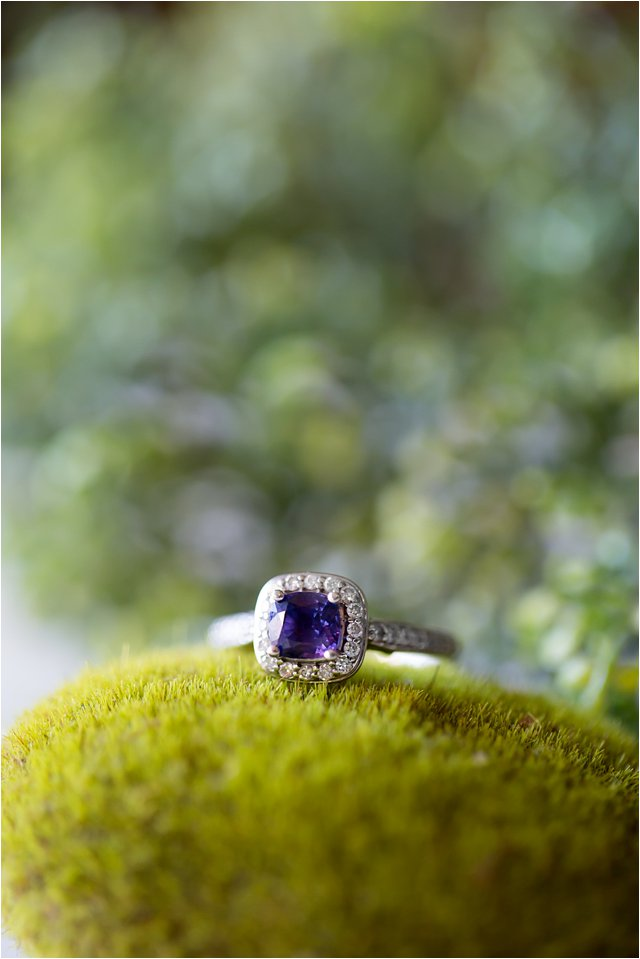 Sapphire and Diamond Engagement Ring on Moss