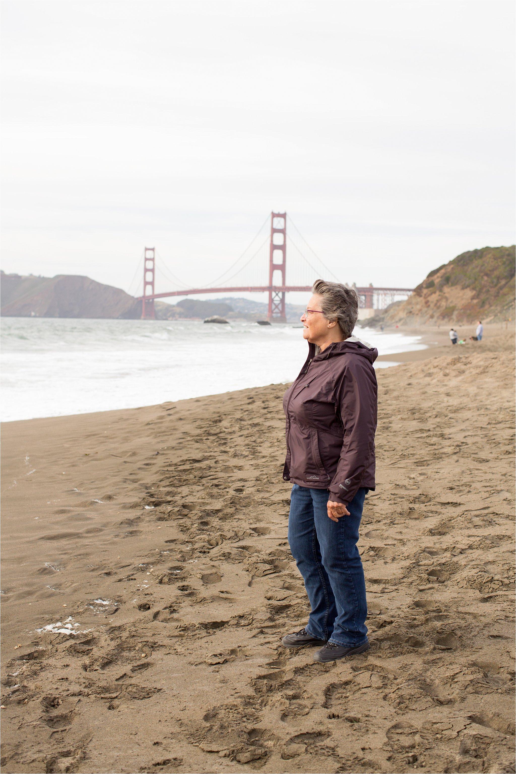 Mom at Baker Beach, San Francisco
