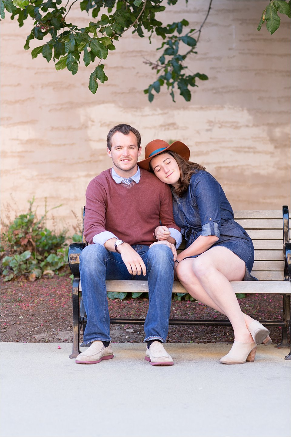 Engaged Couple on Park Bench in San Francisco