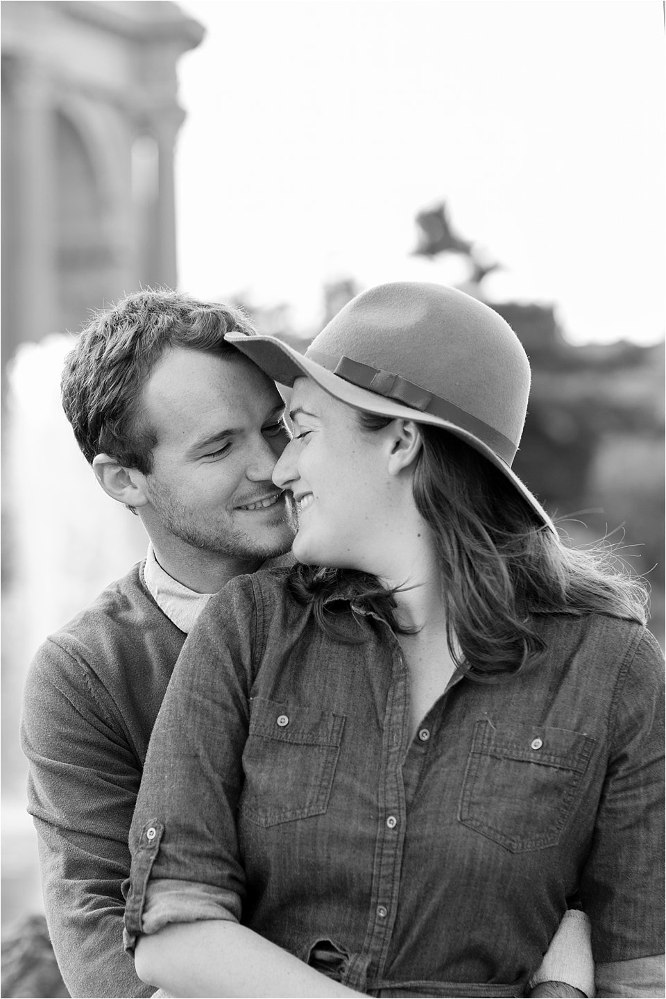 Black & White Photo of Engaged Couple