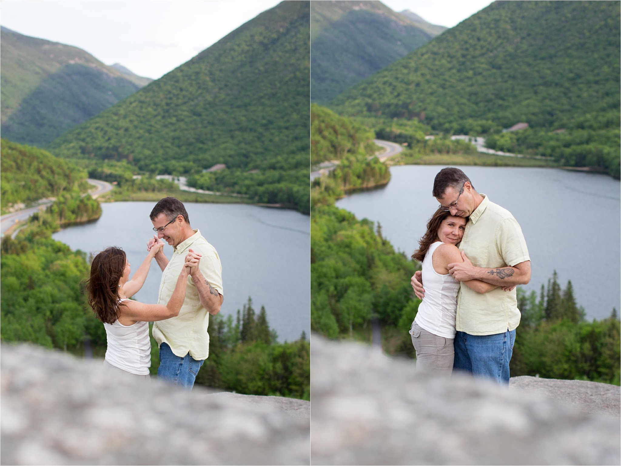 A Playful Engaged Couple on Artist's Bluff, Franconia Notch