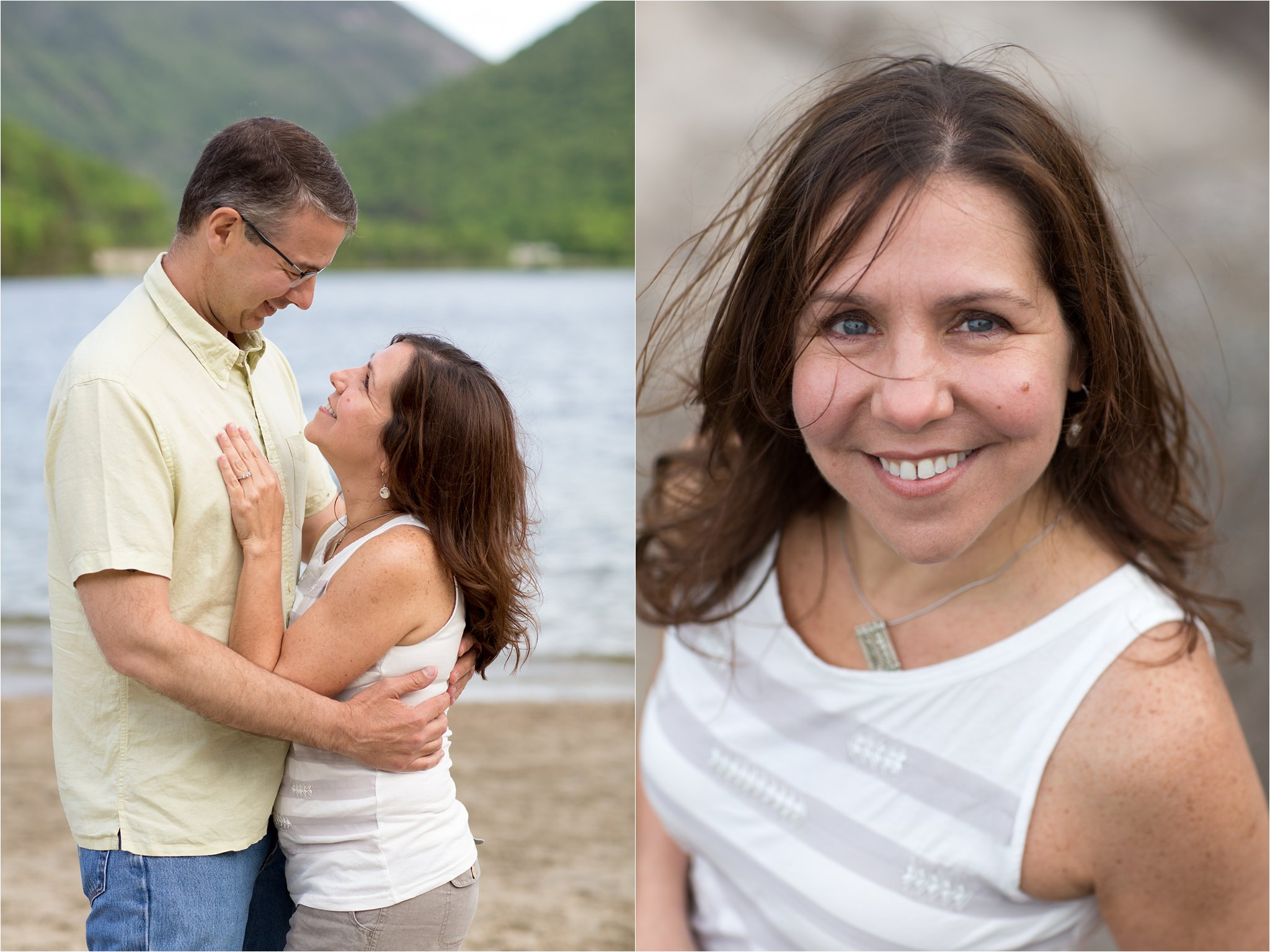 engaged couple at Echo Lake Beach