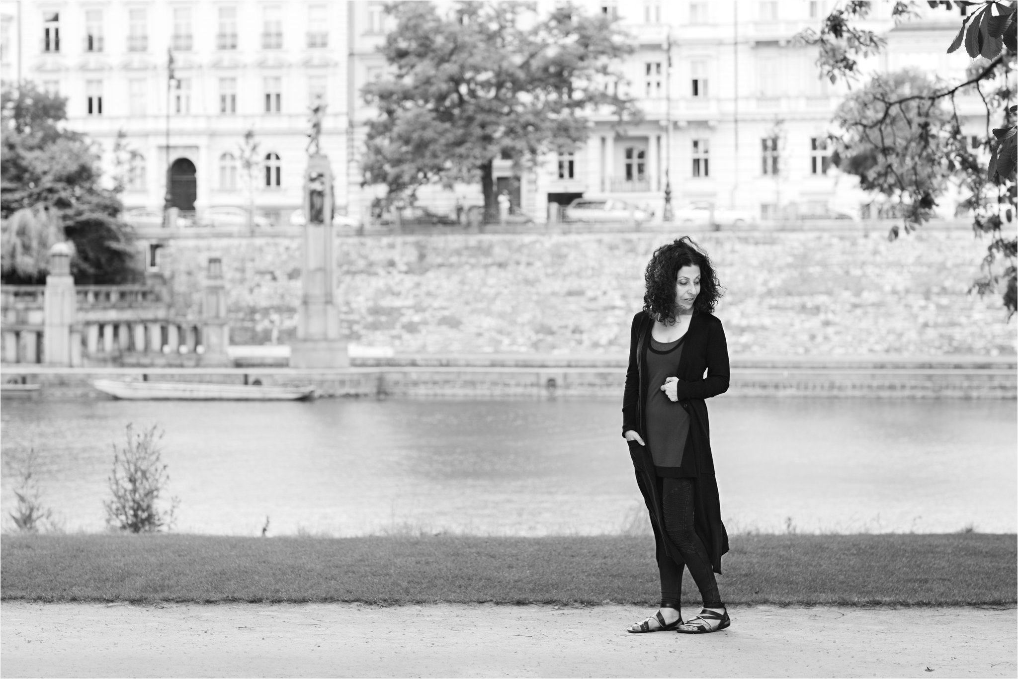 Black and White Portrait on the River Vltava (C) Maundy Mitchell