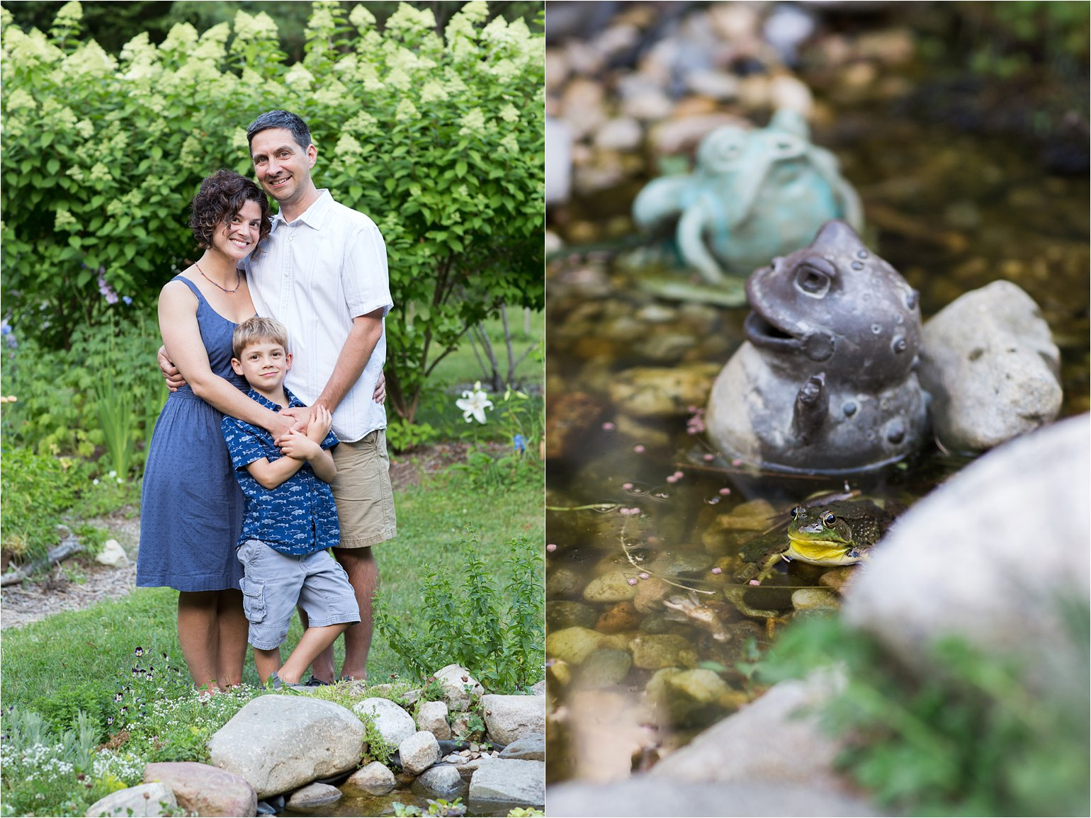 Family in Garden / Three Frogs © 2015 Maundy Mitchell