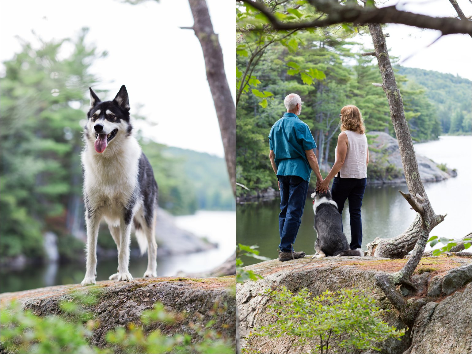 Couple with Dog at NH Pond (C) Maundy Mitchell