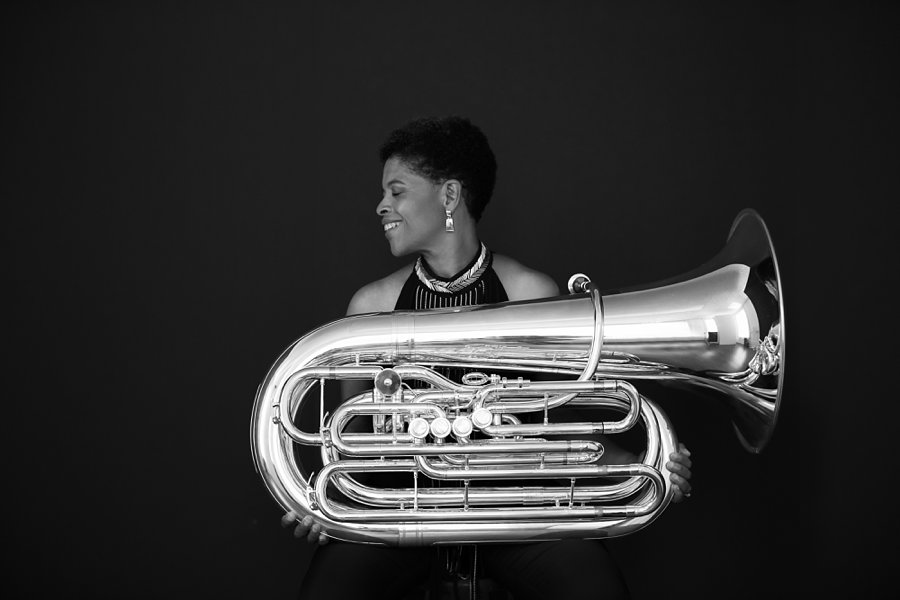 Black and White Profile Portrait of Velvet Brown with her Tuba