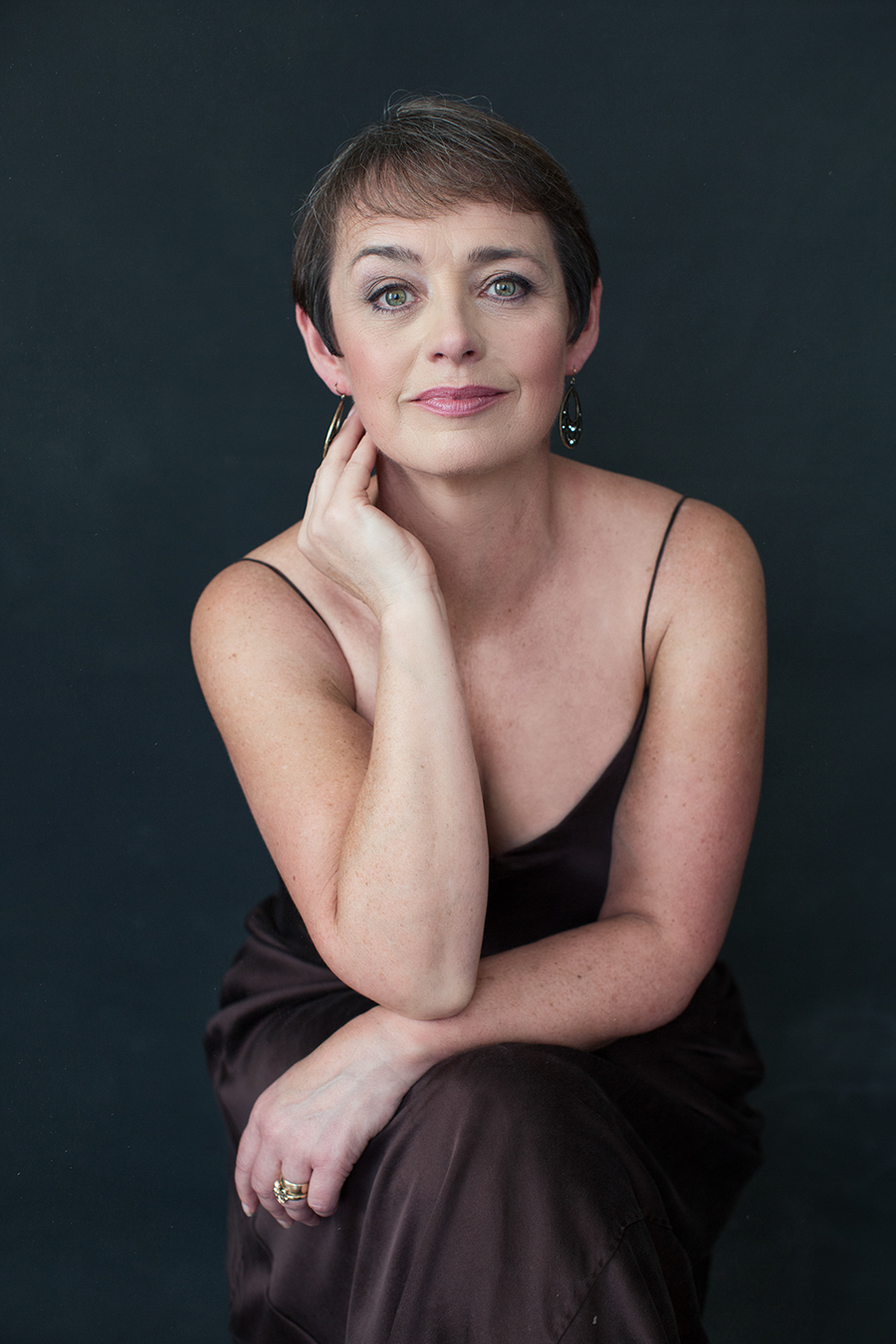 Portrait of Shirley in Chocolate Silk Dress