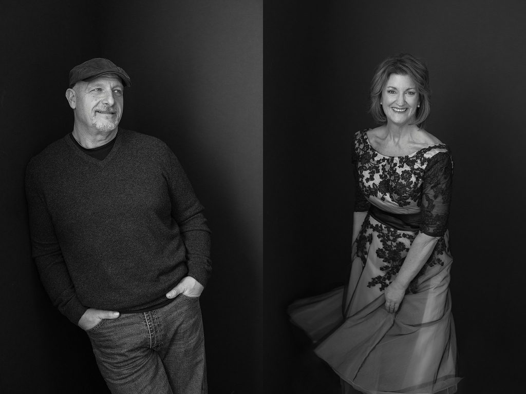 Black and white portraits.  Tom wearing a hat and Susan wearing a vintage 1950s lace dress.