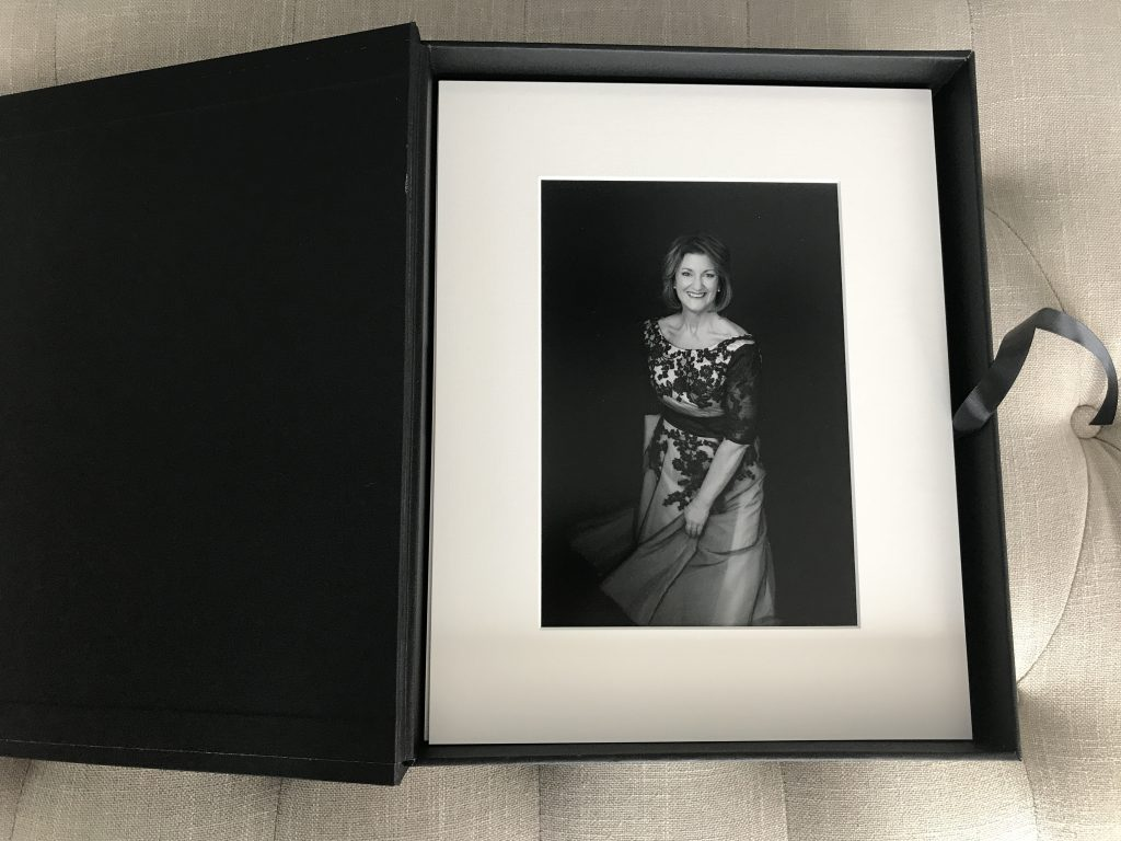 Heirloom linen folio box with Susan and Tom's matted prints