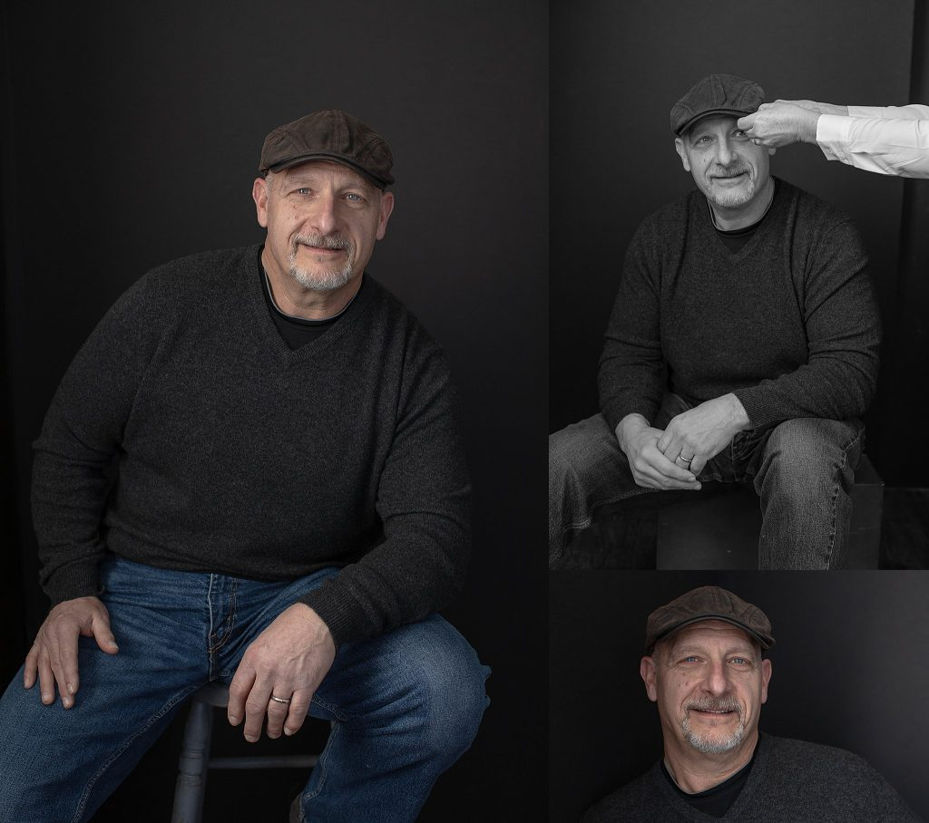 Individual portraits of Tom wearing a hat, and a behind-the-scenes photo of Susan straightening Tom's hat.