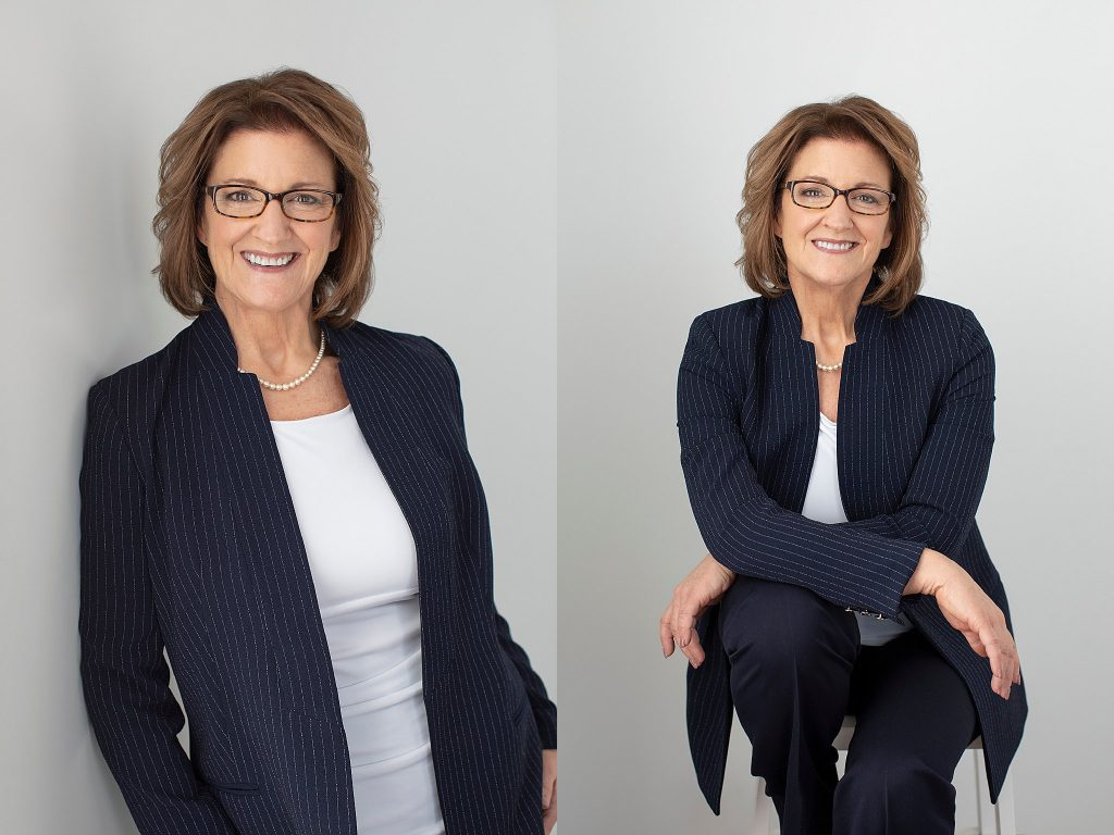 Personal branding photos of Susan in a blue suit