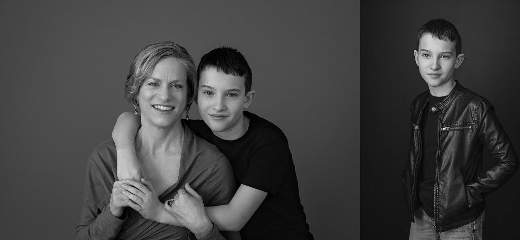 Black and white portraits of a mother and son; and a portrait of a boy in a black leather jacket