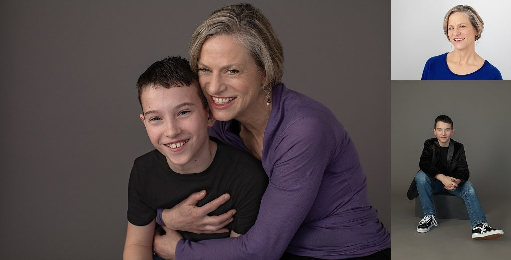 Photos of a mother and son at a Plymouth NH photo studio