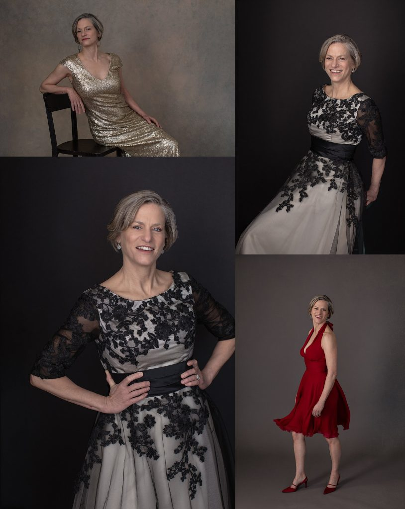 Portraits of a woman in a gold dress, a vintage lace dress, and a red silk dress