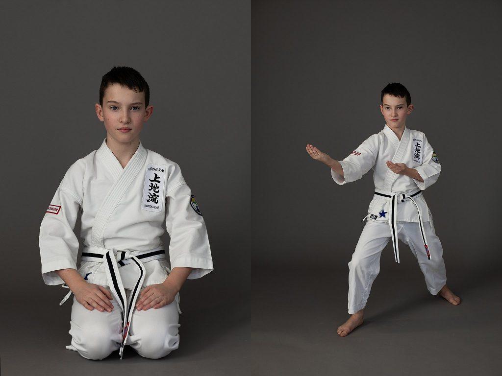 Portraits of a boy wearing a karate gi (uniform)