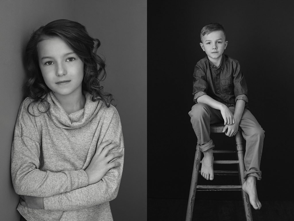 black and white portraits of young sister and brother