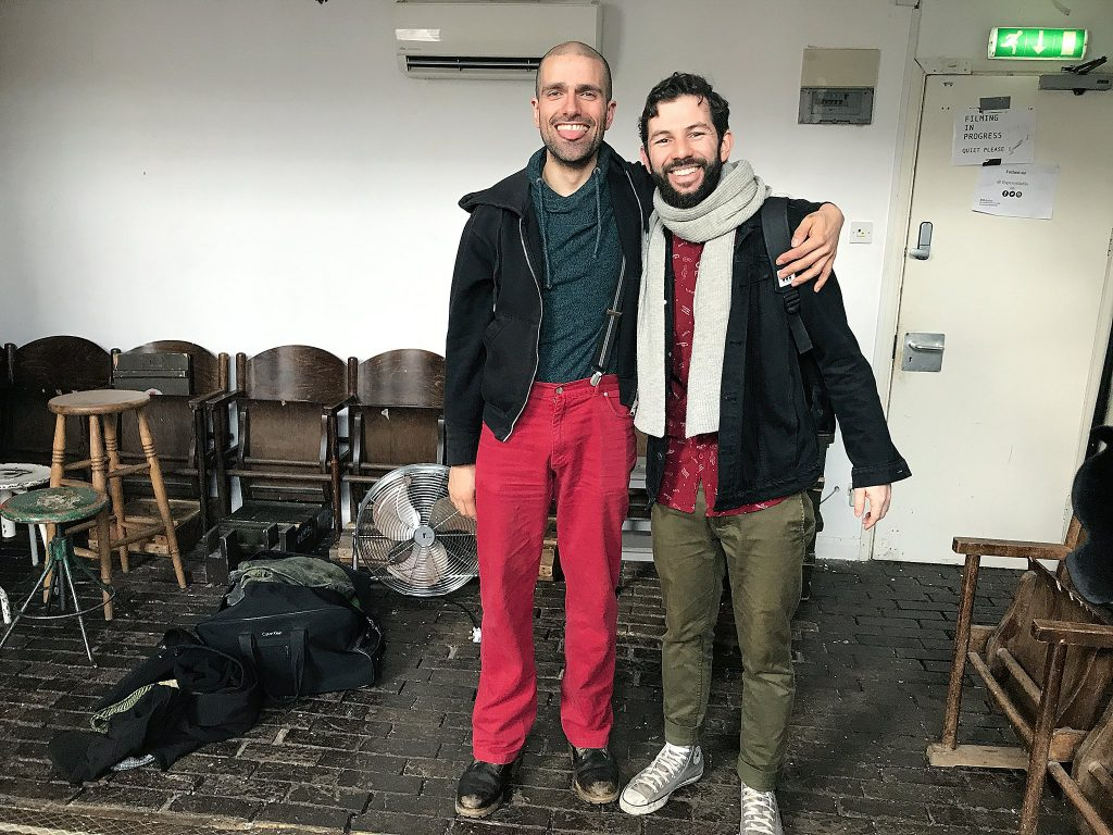 A cell phone pic of creature performer Malik Ibheis and mime Ramon Ayres at Espero Studio in London.