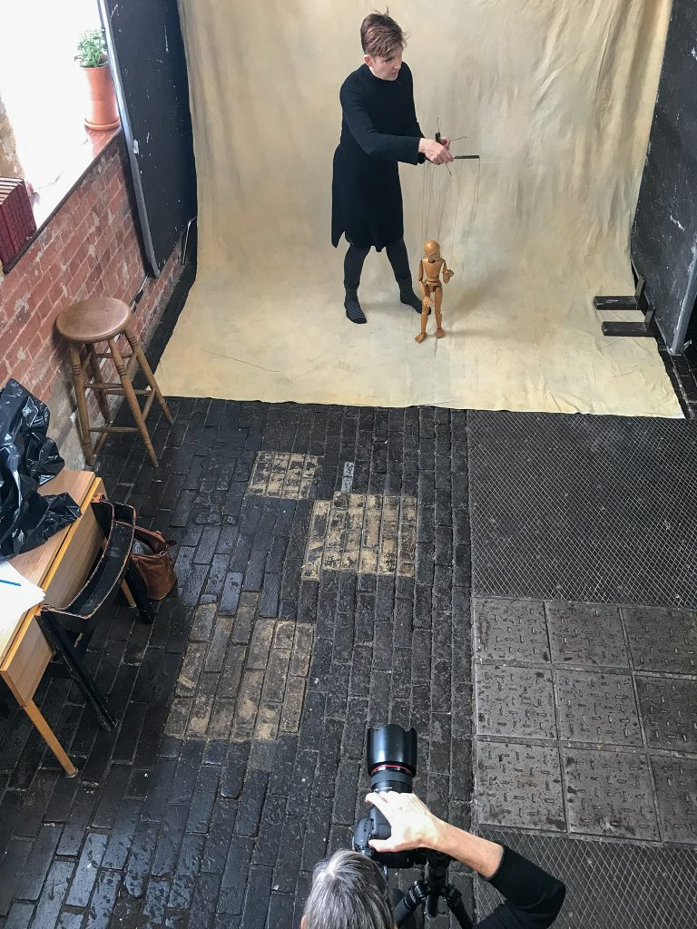 Behind the scenes - Maundy Mitchell photographing puppeteer Sarah Wright at Espero Studio, London