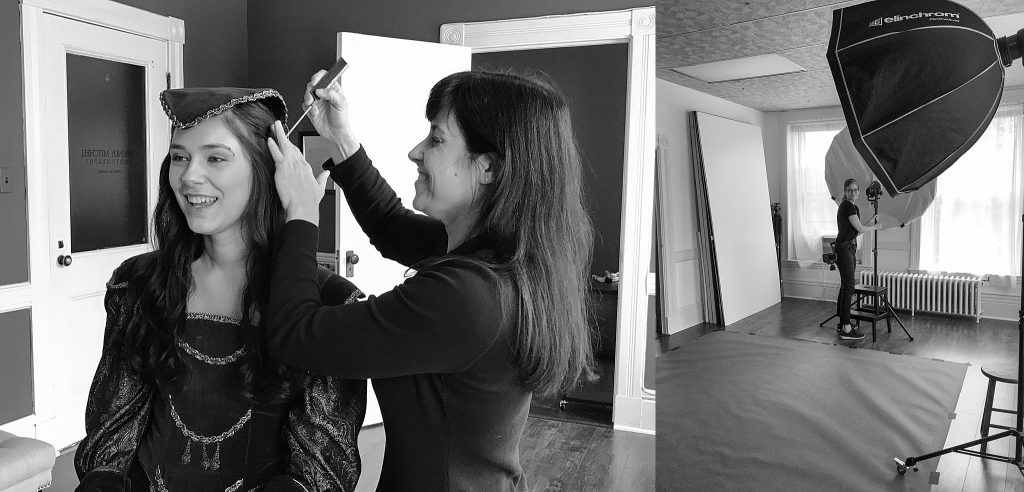 Behind the scenes with a stylist & Maundy Mitchell setting up studio lights