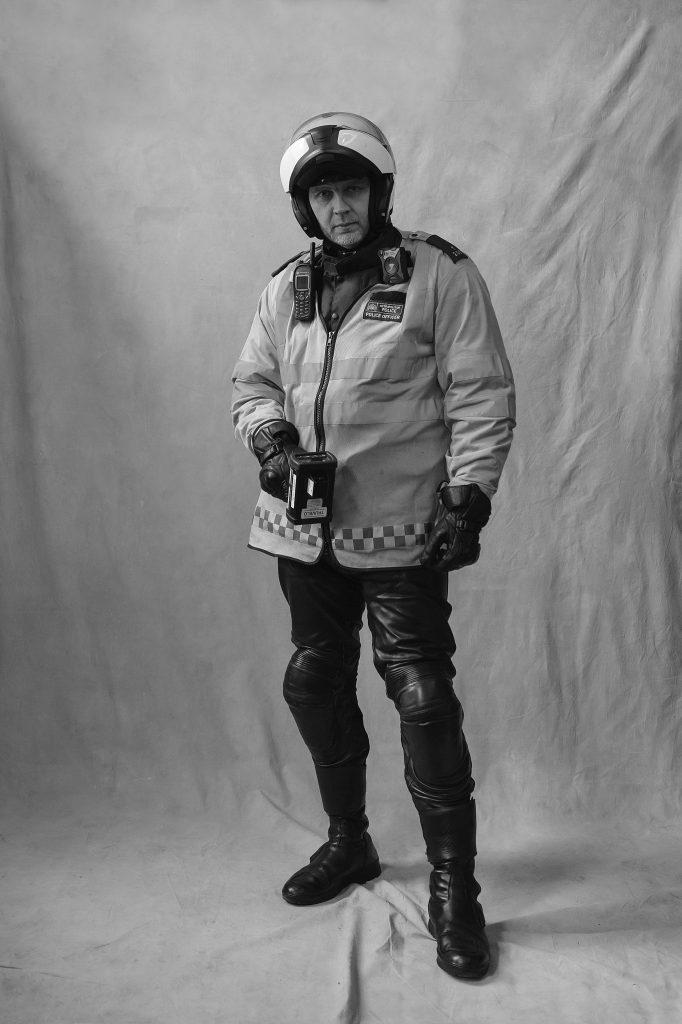 London Traffic Officer Wearing Helmet