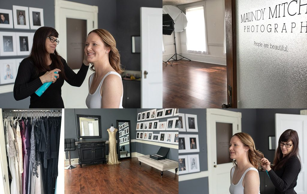 Behind the scenes collage of Rebecca's portrait experience: hair and makeup styling, the studio, and dresses.