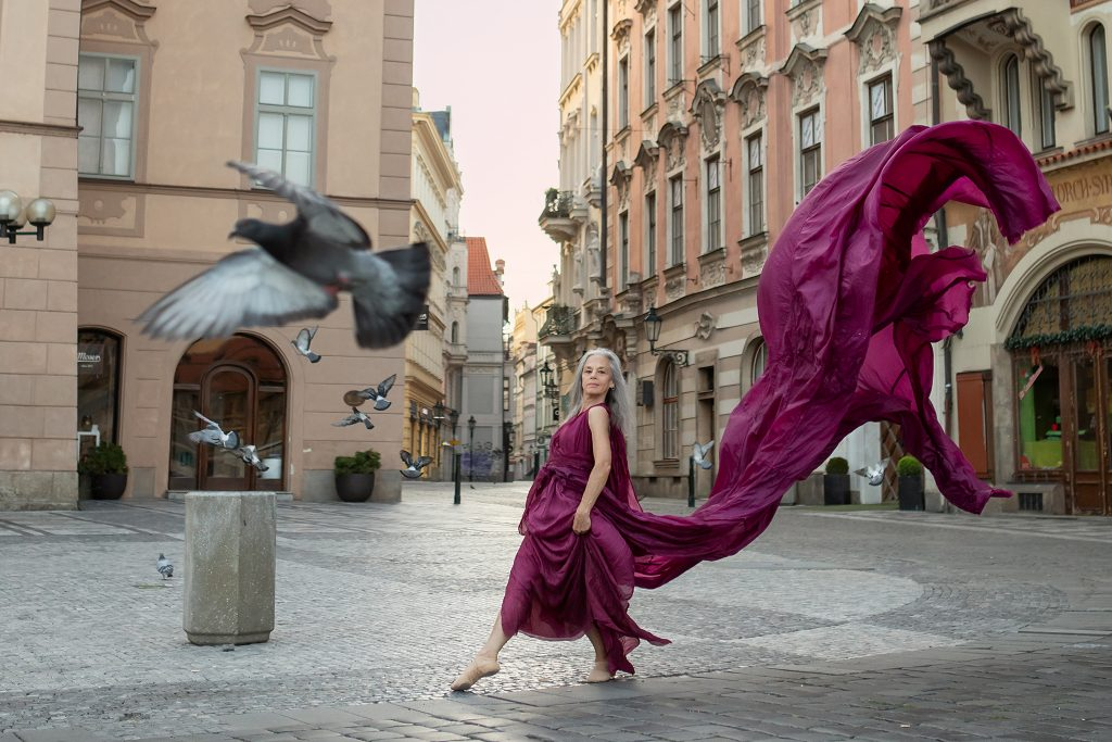 Dancer Lisa Travis, Prague, with birds