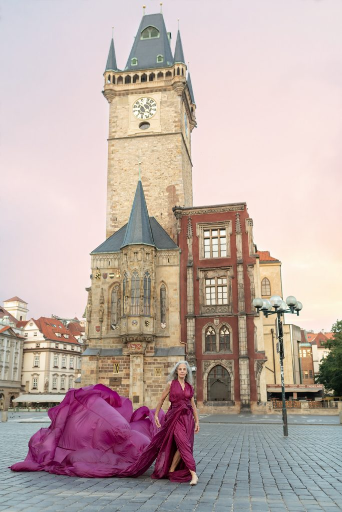 Lisa Travis, dancer, in front of the Clock Tower, Old Town Hall, Prague