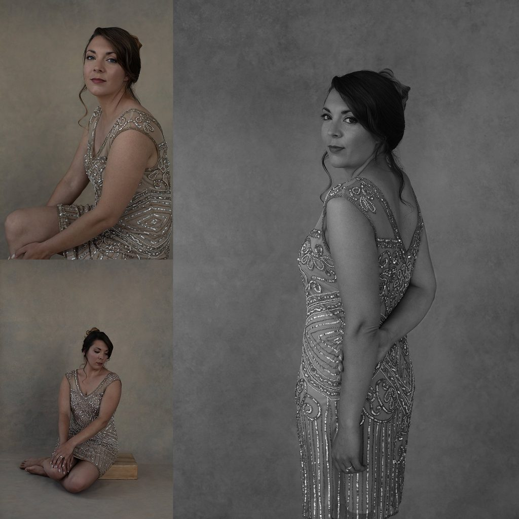 Portraits of Kate wearing a 1920's-style beaded dress