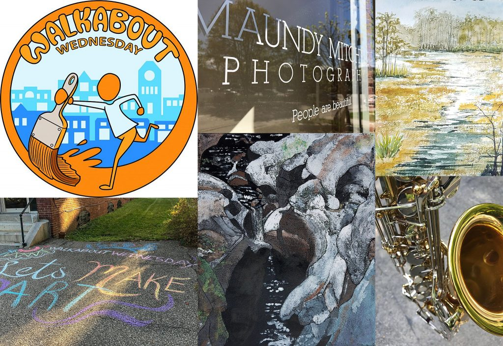 Walkabout Wednesday collage: logo, Maundy Mitchell Photography door sticker, Lynn Decker's paintings, sidewalk art, and saxophone