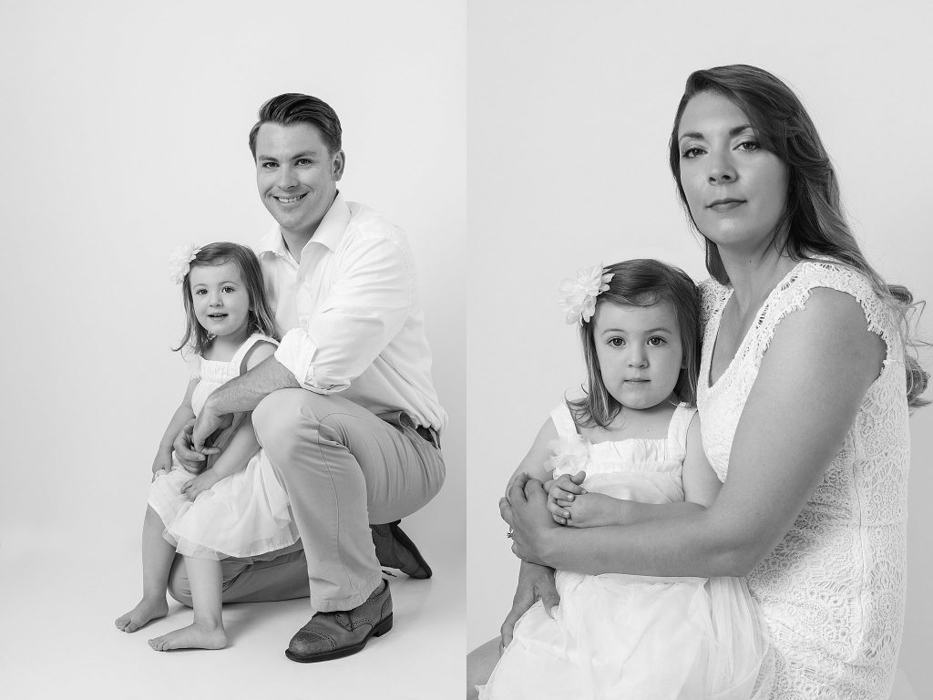 black and white portraits of father and daughter and mother and daughter
