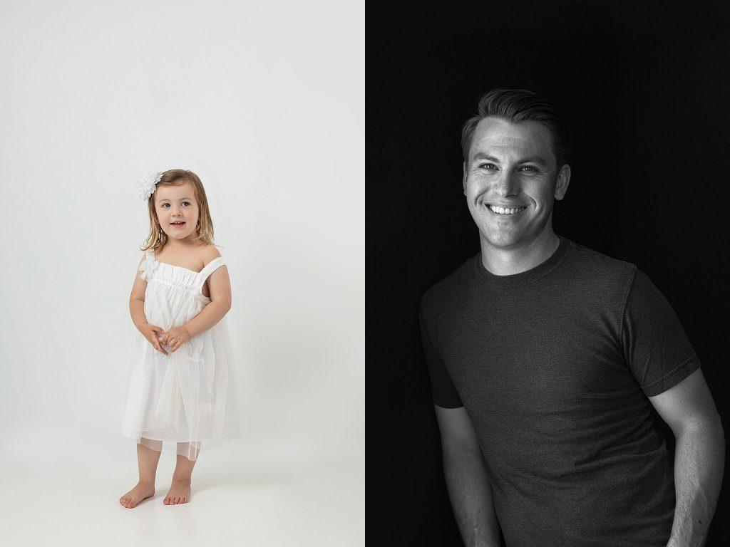 two portraits: daughter in white dress and father in black shirt - black and white photo