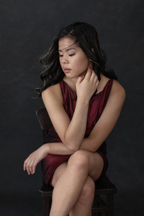 Portrait of Ella in Red Silk Shift Dress