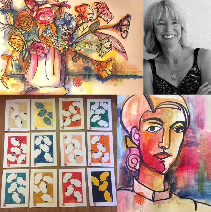 A collage of Lisa Grand Murphy and three of her art works