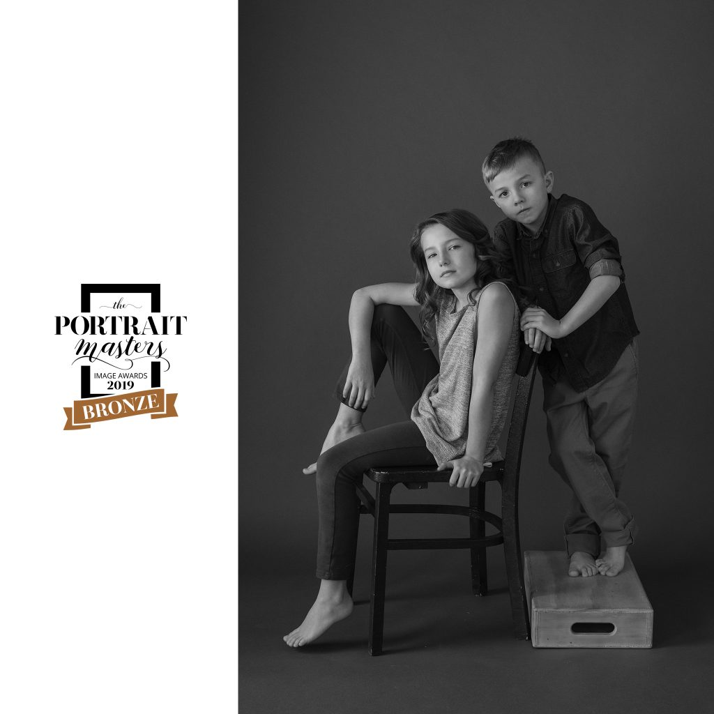 Sister and Brother - a black and white portrait - Bronze in the Family and Group Portrait category
