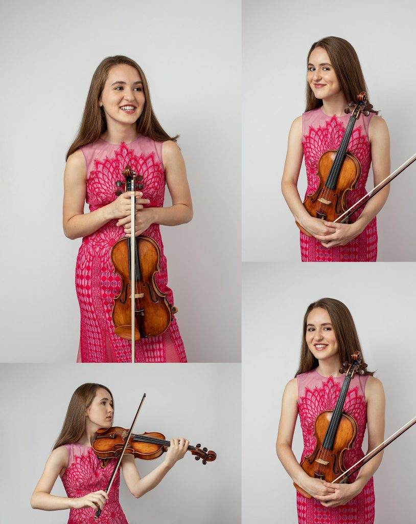 Portraits of violinist in a pink dress