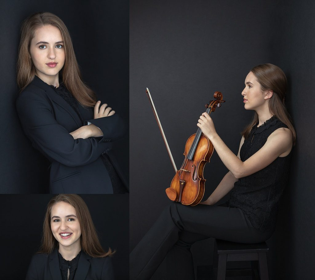 Low key studio portraits and headshots of high school violinist